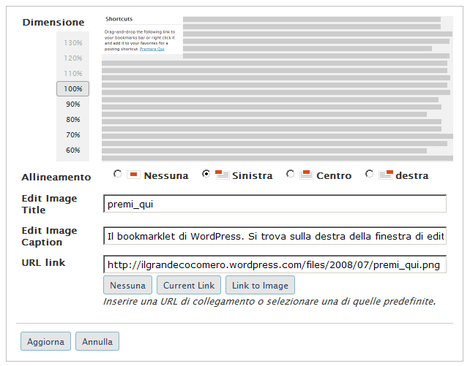 Il nuovo pannello di gestione delle immagini di wordpress
